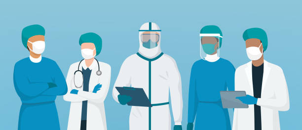professional doctors and nurses standing together - face mask illustrations stock illustrations