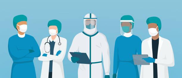 Professionelle Ärzte und Krankenschwestern stehen zusammen – Vektorgrafik