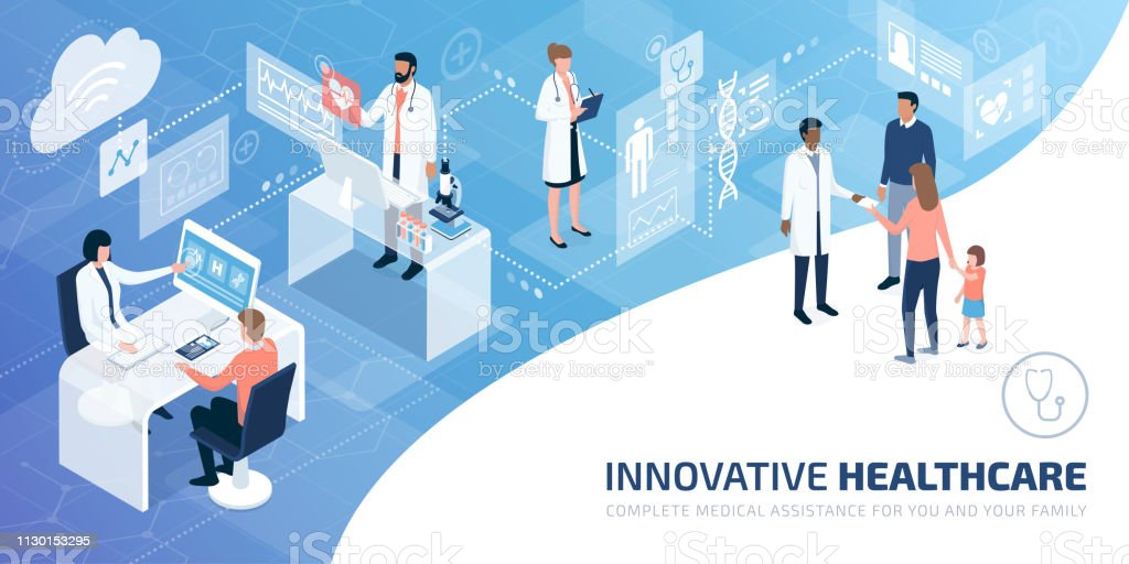 Professional doctors and patients in a virtual environment - arte vettoriale royalty-free di Accudire