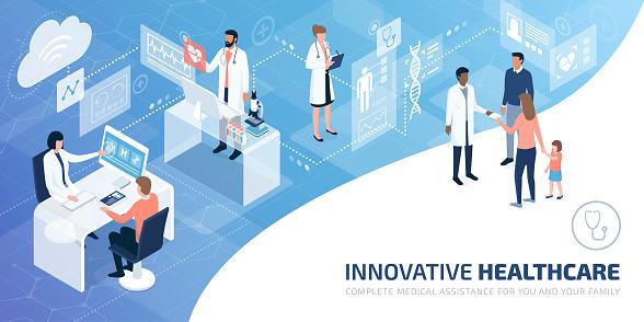 Professional Doctors And Patients In A Virtual Environment - Immagini vettoriali stock e altre immagini di Accudire