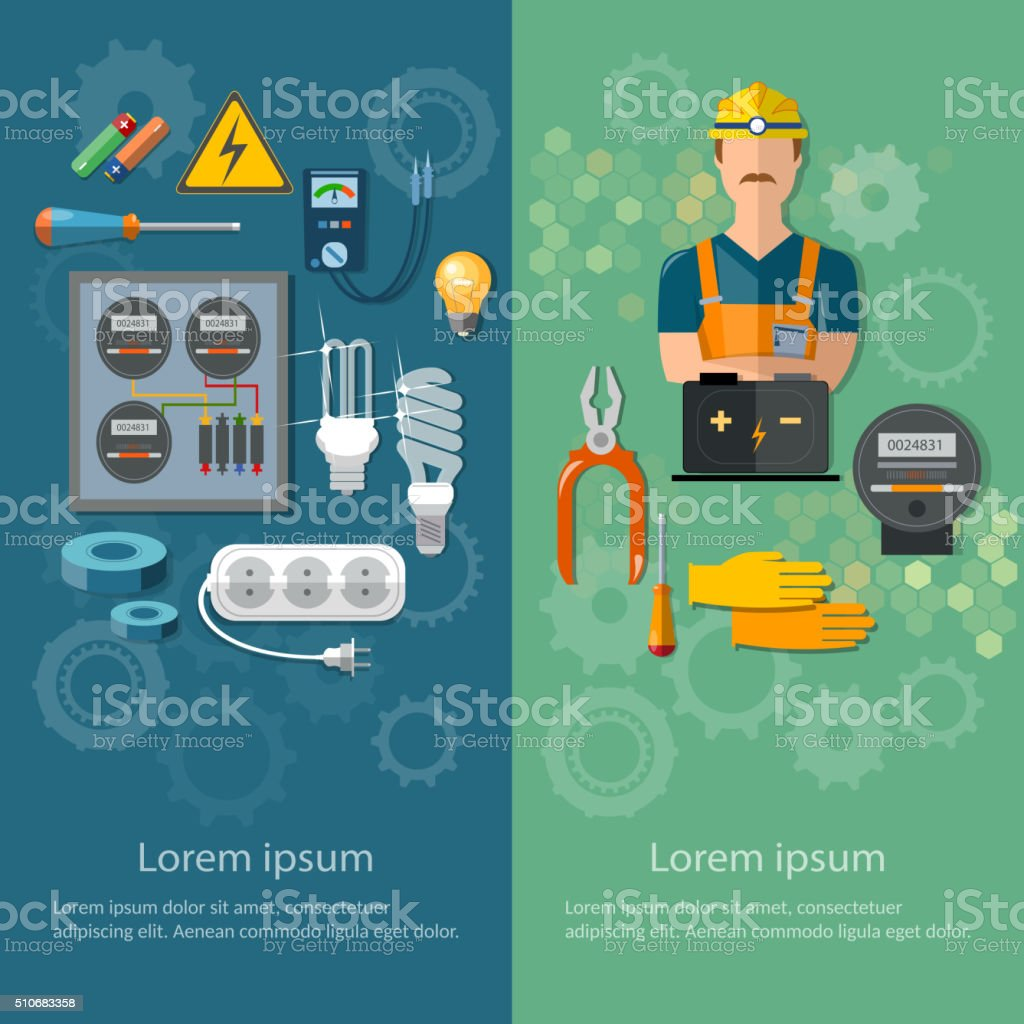 Professional electrical banners electricity electric tools vector art illustration