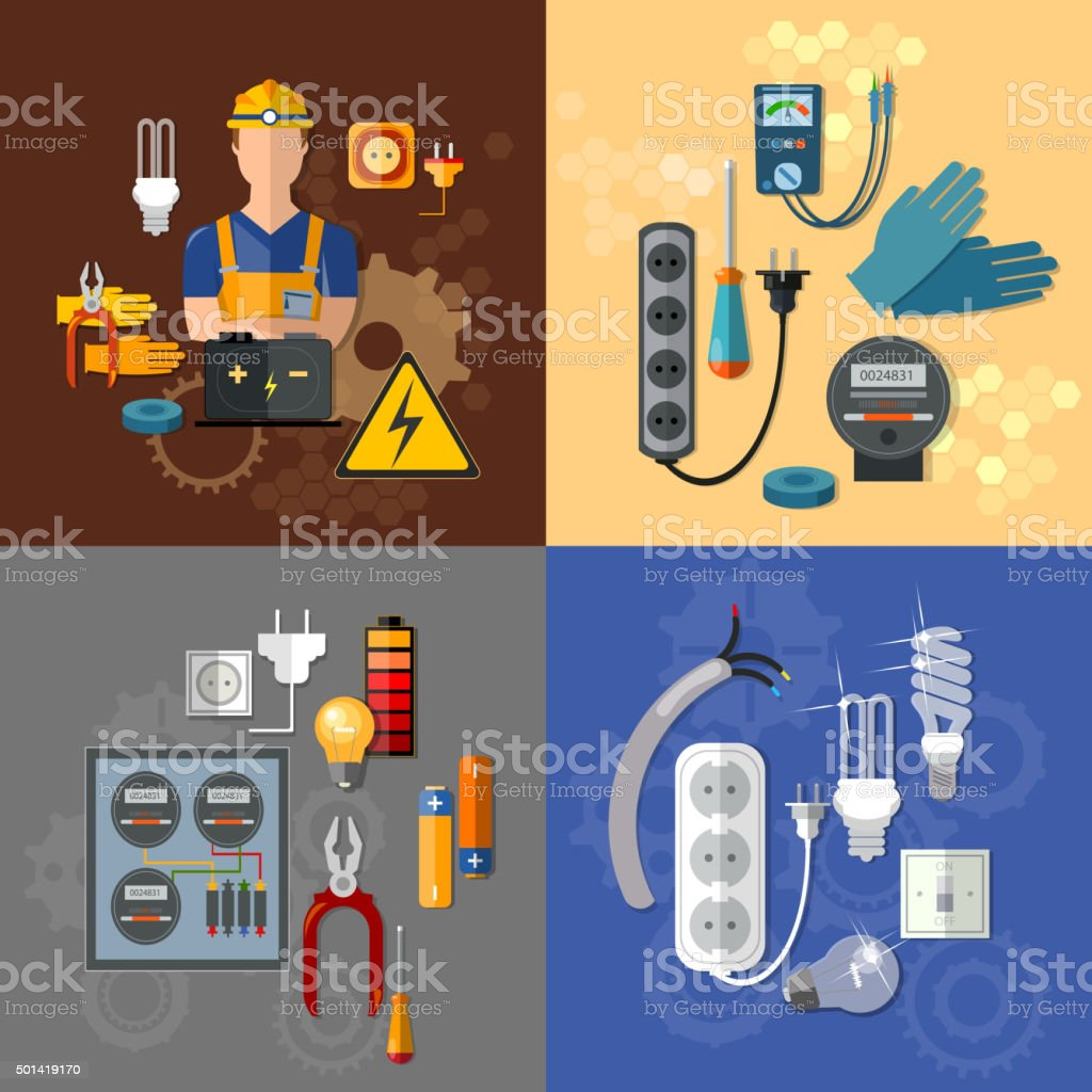 Professional electrical electricity energy electric man set vector art illustration