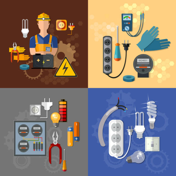 professional electrical electricity energy electric man set - electrical wiring home stock illustrations, clip art, cartoons, & icons