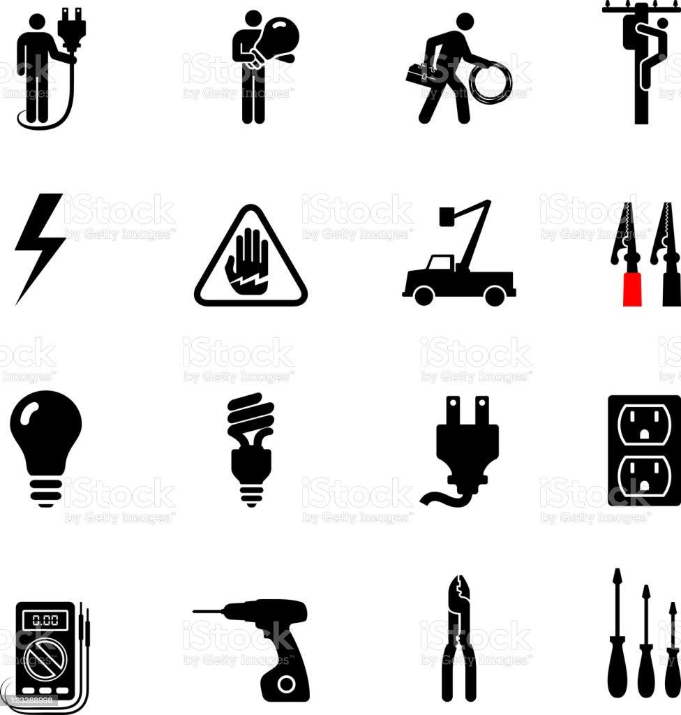 Fabuleux Professionnels électricien Noir Et Blanc Ensemble Dicônes  WR78