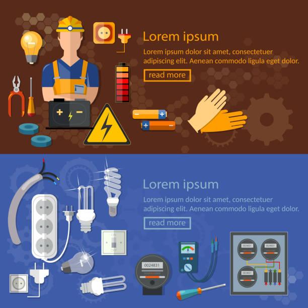 illustrations, cliparts, dessins animés et icônes de électricien professionnel des outils électriques, l'électricité bannières - rallonge électrique