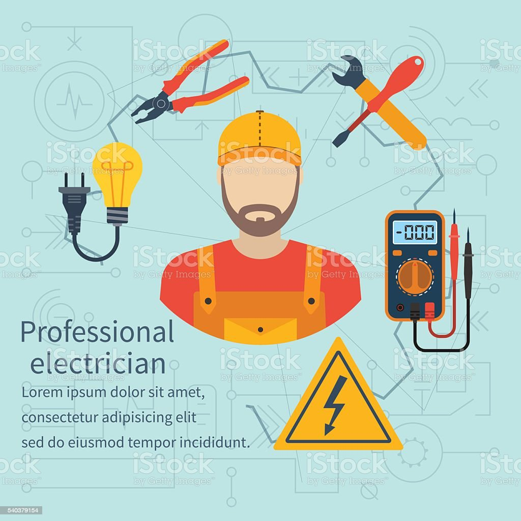 Professional electrician icon vector art illustration