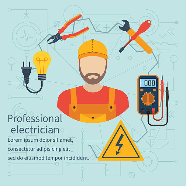 ilustrações, clipart, desenhos animados e ícones de eletricista ícone profissional - eletricista