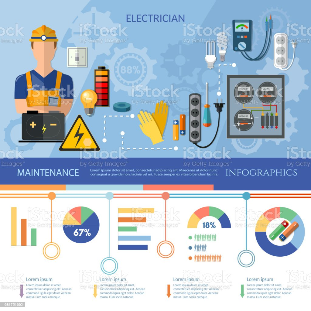 professional electrician infographics electrical equipment, Presentation templates