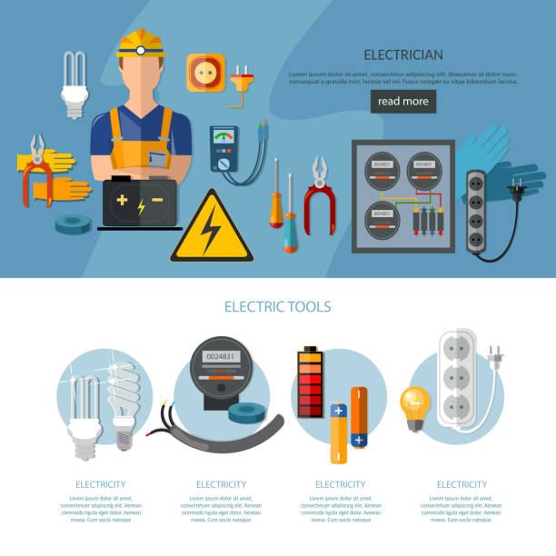 ilustraciones, imágenes clip art, dibujos animados e iconos de stock de professional electrician infographics electricity tools - amperímetro