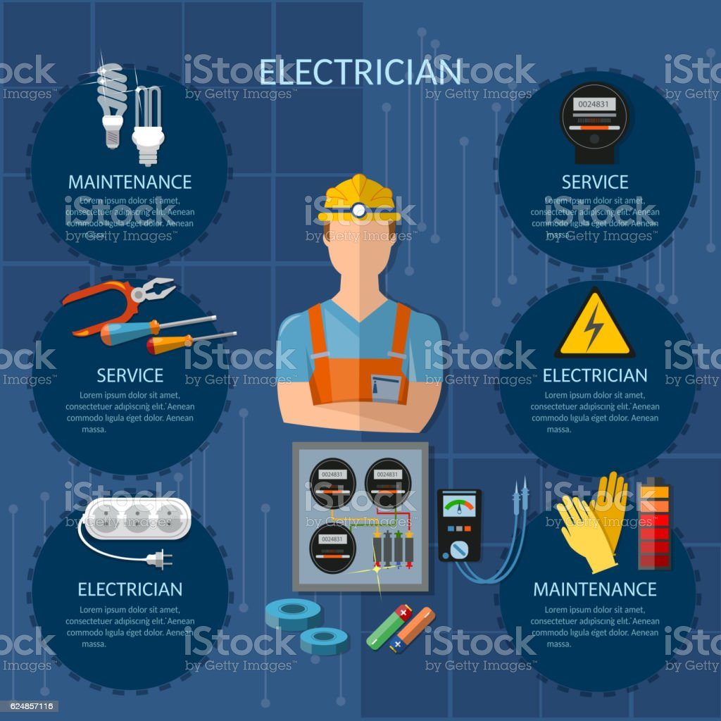 Professional electrician infographics electricity tools vector art illustration
