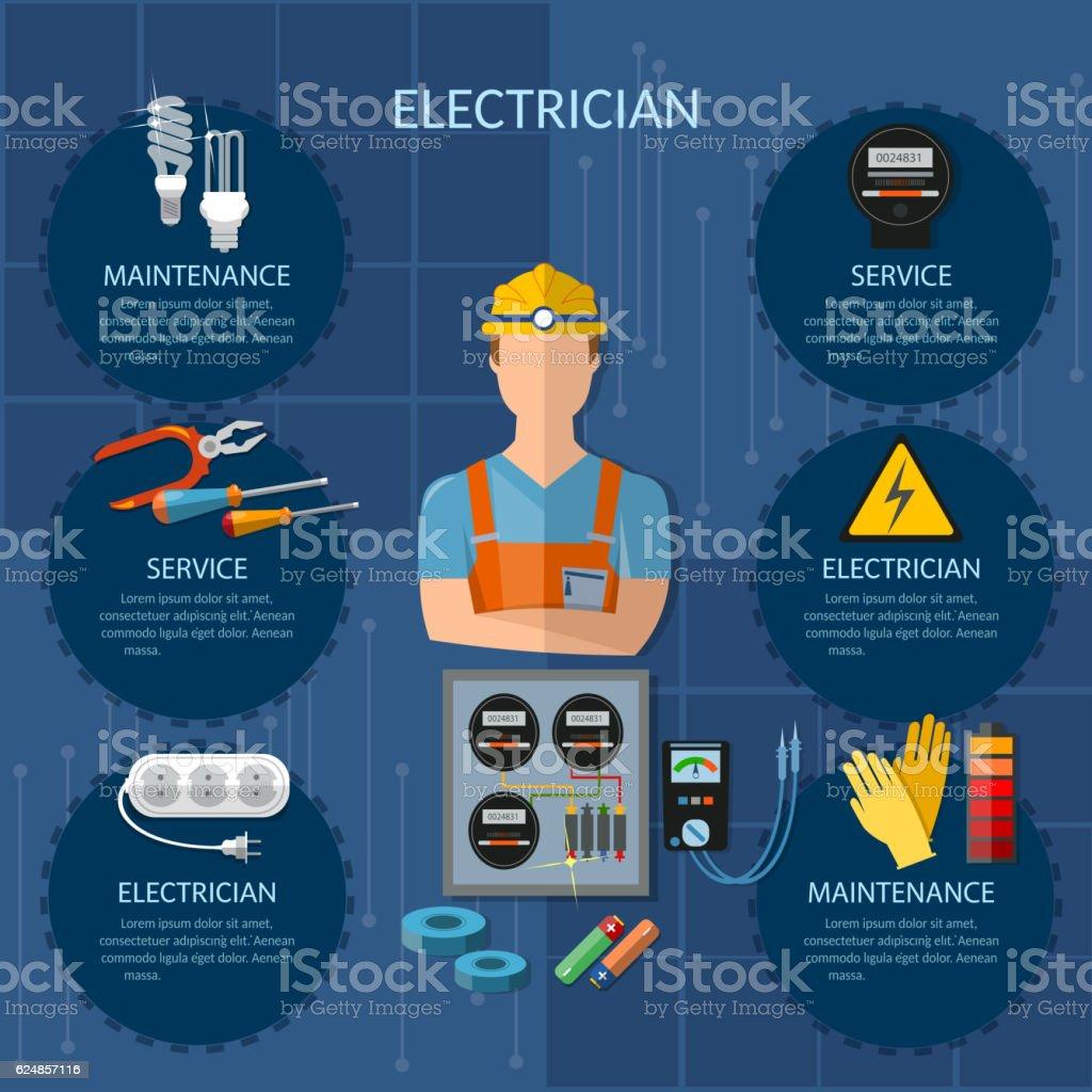 プロの電気技師インフォグラフィック電力ツール ベクターアートイラスト