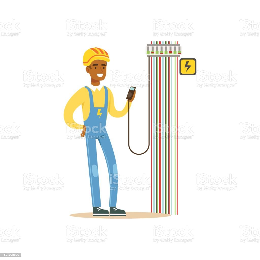 Fuse Box Cartoon Wiring Library Wildcat 344qb Satellite Diagram Professional Electrician Man Character Measuring The Voltage Output In Electrical Works Vector Illustration