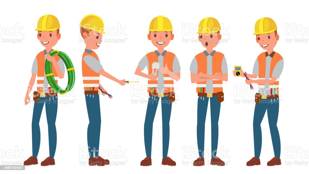 Professional Electrician Vector Different Poses Performing ...