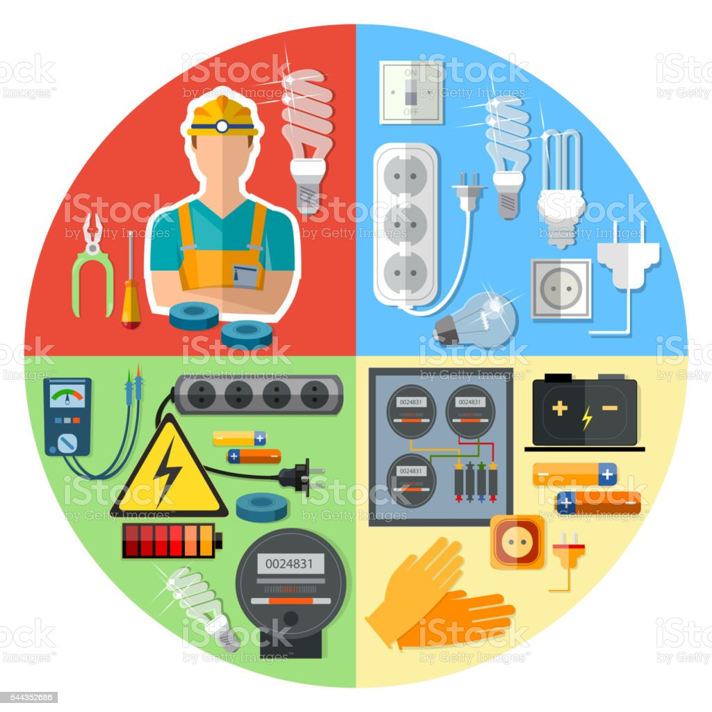 Professional electrician with electricity tools vector art illustration