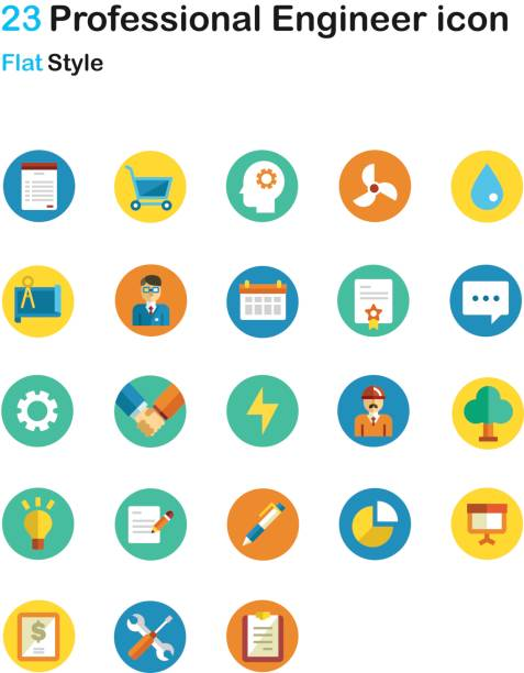 Professional Engineer Flat Icon Pack Professional Engineer Flat Icon Pack are suitable for use in website, mobile application, web application including all design purpose like business card, poster, book illustration, resume, and more. svg stock illustrations