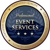Professional event services gold label with a laurel wreath and stars.