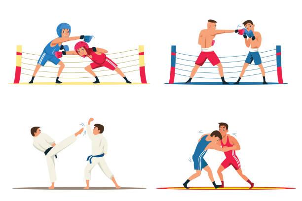 stockillustraties, clipart, cartoons en iconen met professionele vechters platte illustraties set - mma