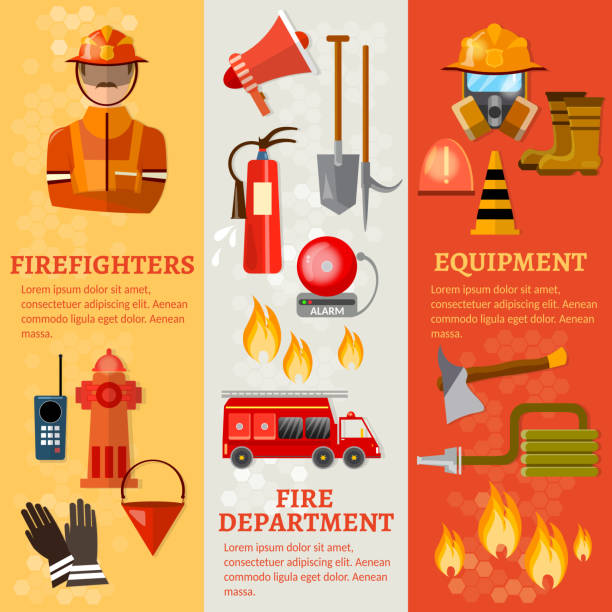 Professional firefighters banners fire safety equipment fireman vector art illustration