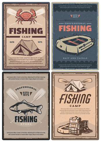 Professional fishing store and camp retro posters