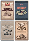 Fishing store and camp for professional retro posters. Leisure and hobby connected with nature promotion. Full rucksack and waterproof tent, big fish, red crab and inflatable boat vintage vector