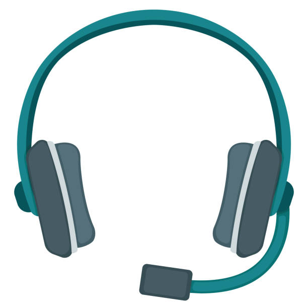 stockillustraties, clipart, cartoons en iconen met professionele gokkenheadset met microfoon voor spel, het pictogram van het muziek luisterende concept van de kwaliteit flat vectorillustratie, die op wit wordt geïsoleerd. - call center