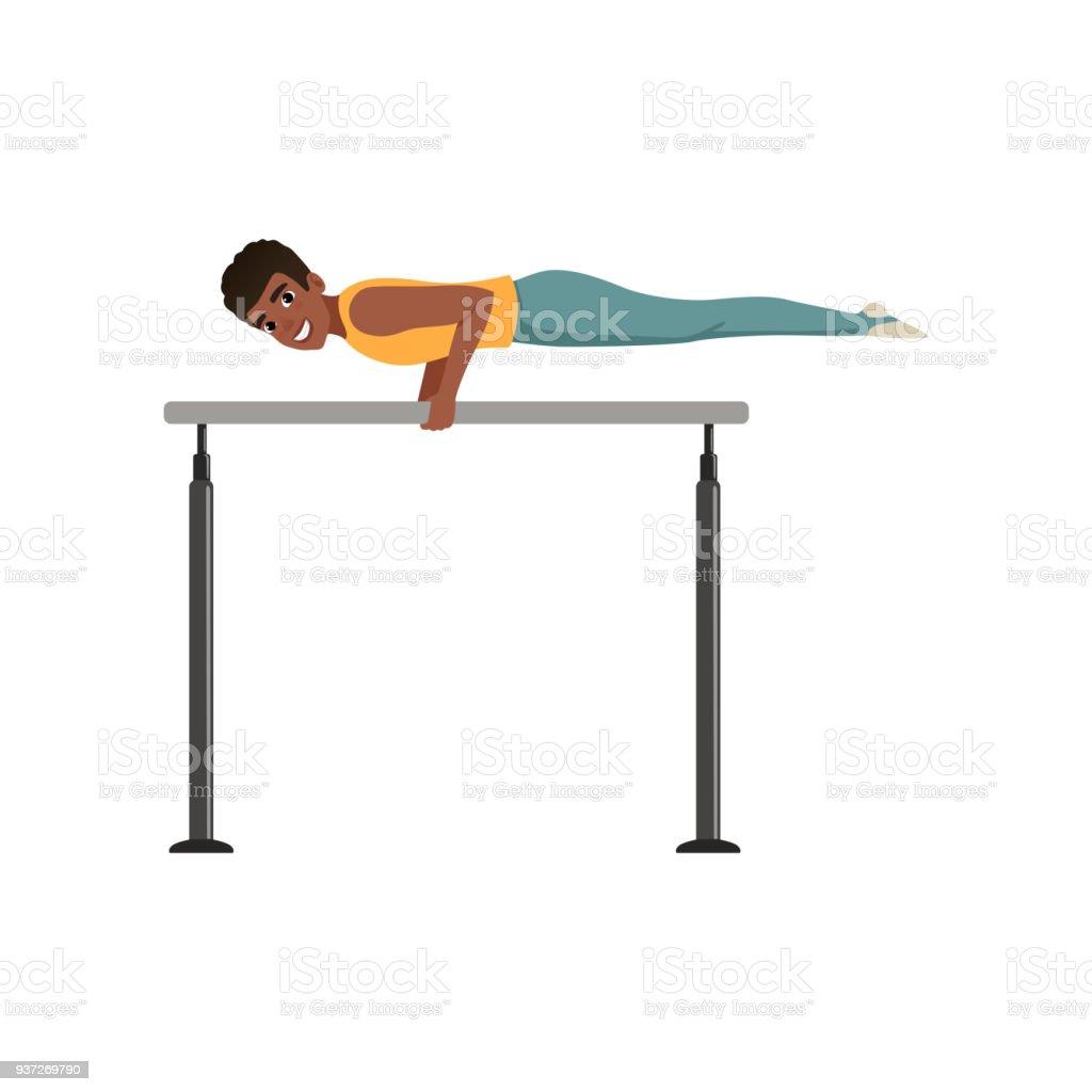 05767f71eeb7 Gimnasta profesional capacitación sobre barras paralelas. Boy Teen en ropa  deportiva. Gimnasia artística.