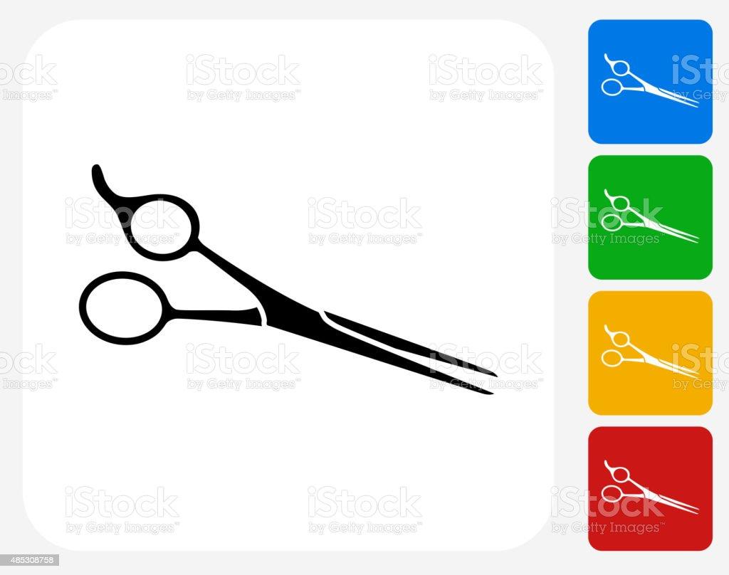 Professional Hair Scissors Icon Flat Graphic Design vector art illustration