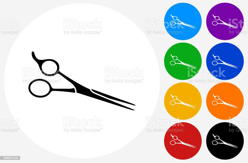 Professional Hair Scissors Icon on Flat Color Circle Buttons vector art illustration