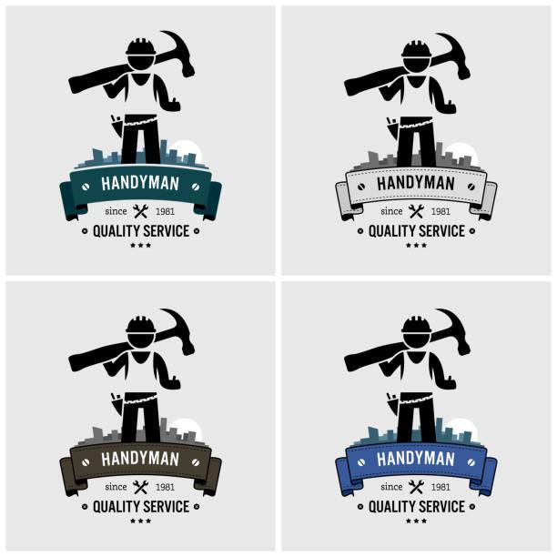 Professional handyman house fixing logo design. vector art illustration