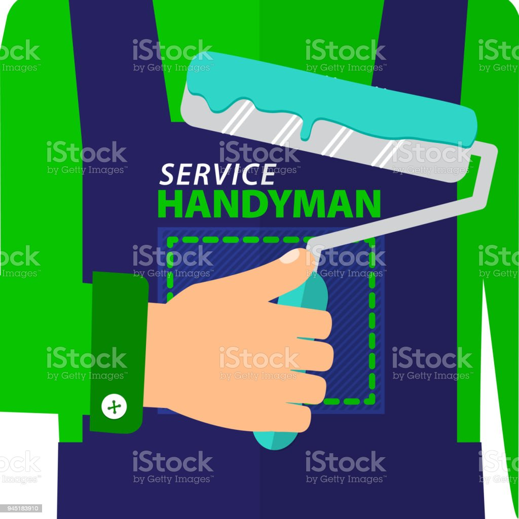 Professional Handyman Services Logo Handyman Dressed In A