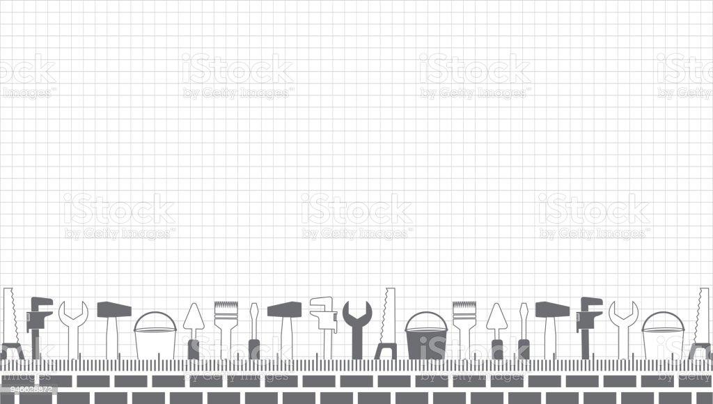 professionelle handwerker dienstleistungen vector banner vorlage mit tools  sammlung und text satz von reparaturtools auf einem blatt in einem käfig  flaches design stock vektor art und mehr bilder von arbeiter - istock  istock