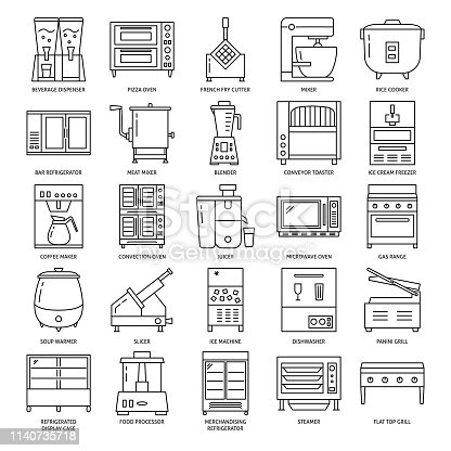 Professional kitchen equipment icon set in line style. Commercial cooking appliances symbols collection. Vector illustration with editable stroke.