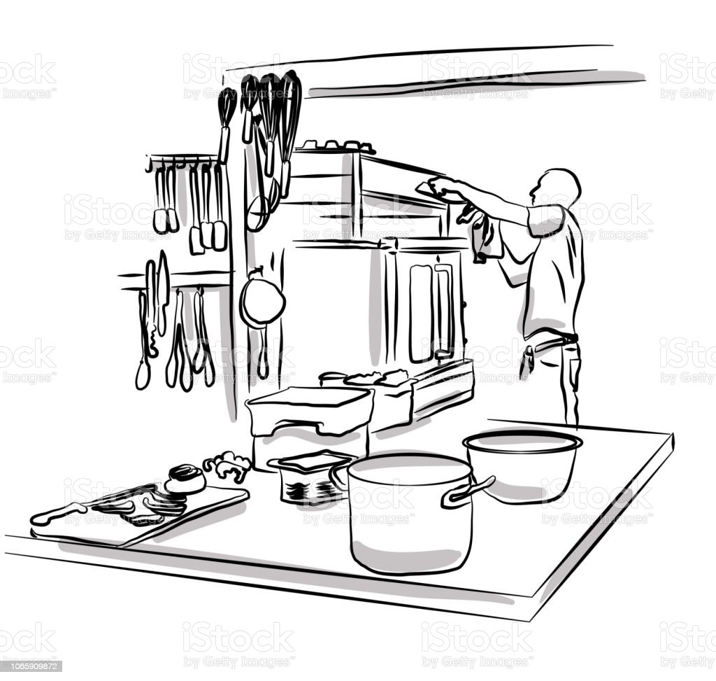 Professional Kitchen Work Stock Illustration Download Image Now Istock