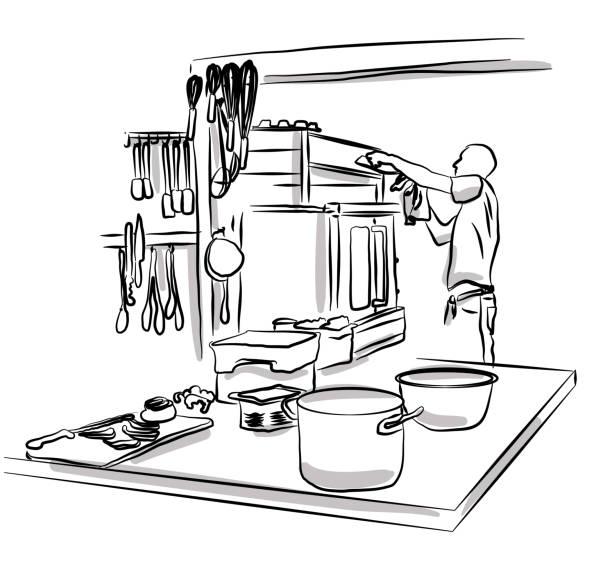 professionelle küchenarbeit - gewerbliche küche stock-grafiken, -clipart, -cartoons und -symbole