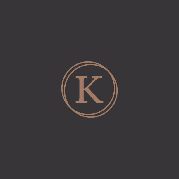 Professional letter k in rounded design frame logo Simple professional letter logo design in a stylish rounded frame in a black background. k logo illustrations stock illustrations
