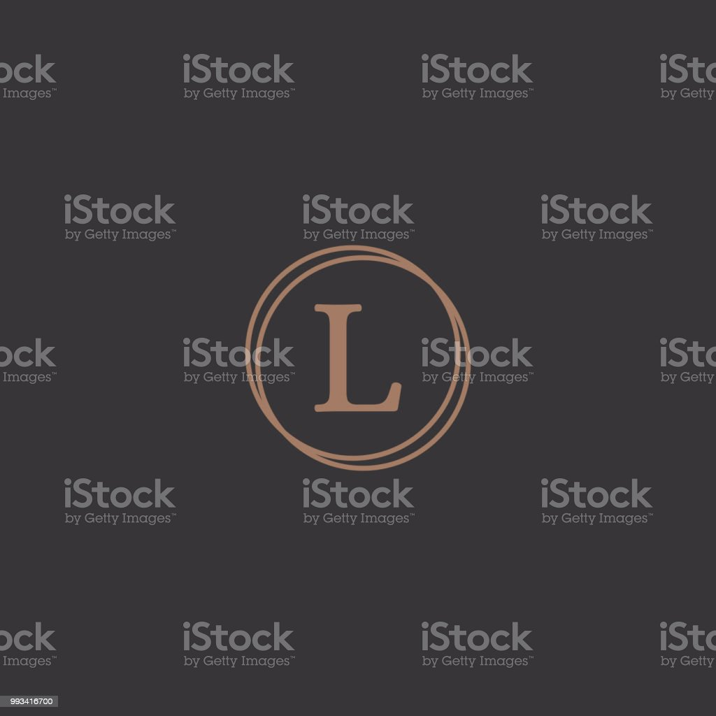 Professional letter l in rounded design frame logo vector art illustration