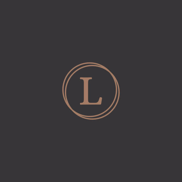 Professional letter l in rounded design frame logo Simple professional letter logo design in a stylish rounded frame in a black background. letter l stock illustrations