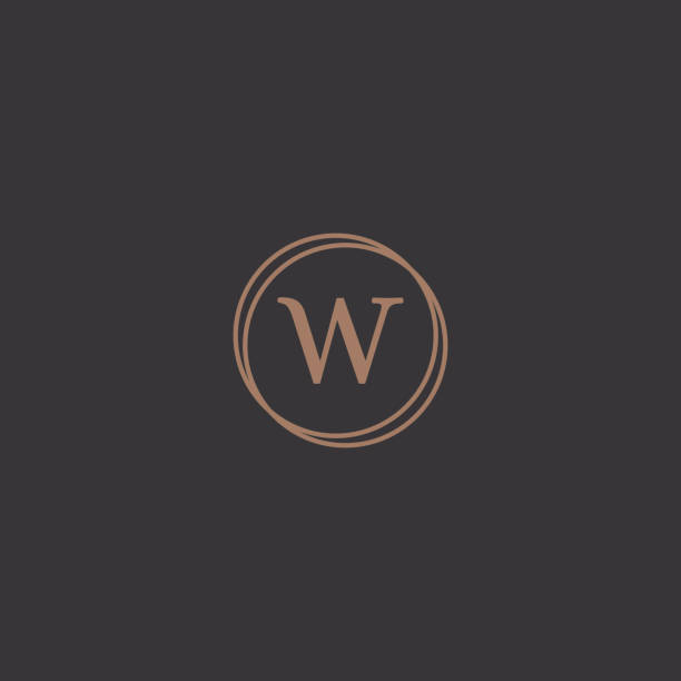 Professional letter W in rounded design frame logo Simple professional letter logo design in a stylish rounded frame in a black background. w logo stock illustrations