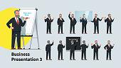 Professional looking business teacher man giving presentation or lecture on a modern flipchart poses set. Businessman professor writing on flipchart & transparent glass board. Flat vector illustration