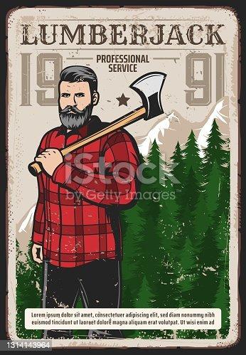 istock Professional lumberjack works service retro poster 1314143964