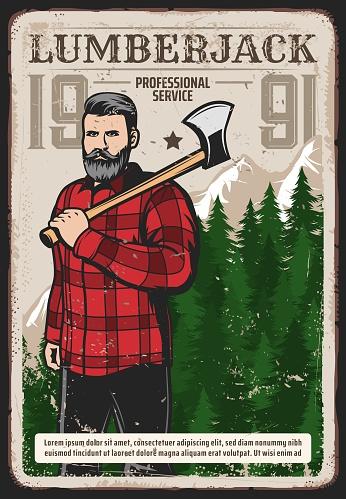 Professional lumberjack works service retro poster