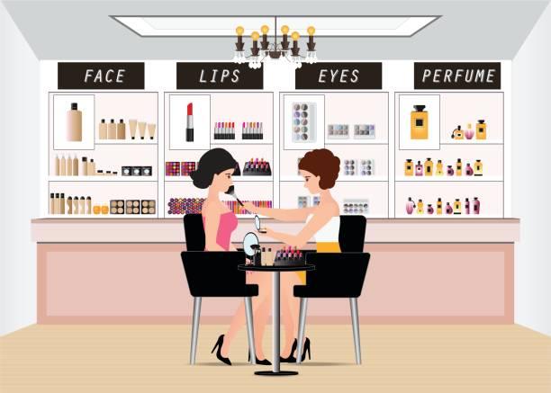 bildbanksillustrationer, clip art samt tecknat material och ikoner med professionell makeupartist arbetar med makeup borste. - makeup artist