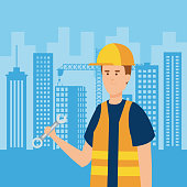 professional man builder with wrench and uniform vector illustration
