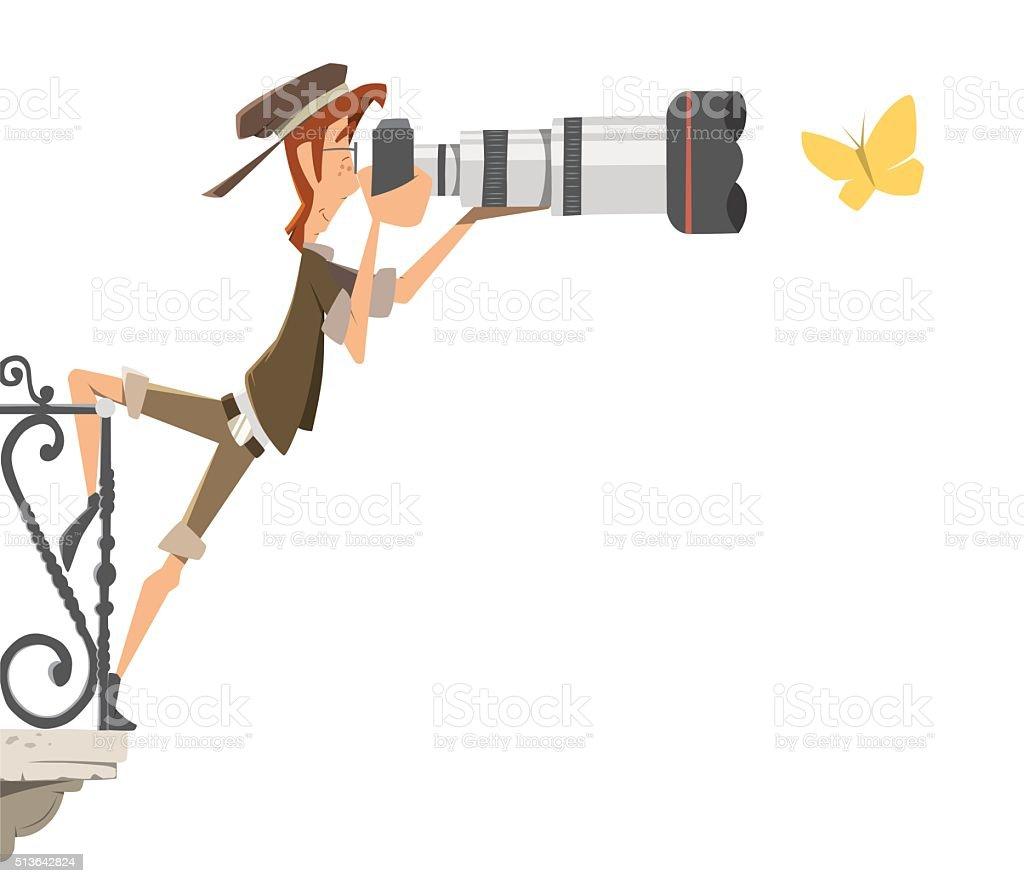 Professional man paparazzi photographer with big camera lens vector art illustration