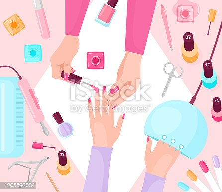 Professional manicure table flat vector illustration