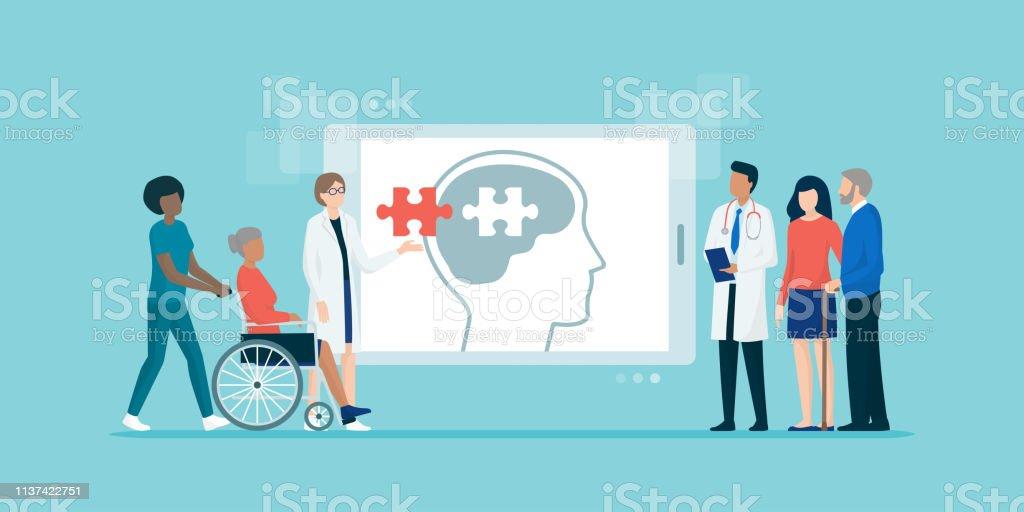Professionelles medizinisches Team bei Patienten mit Alzheimer – Vektorgrafik