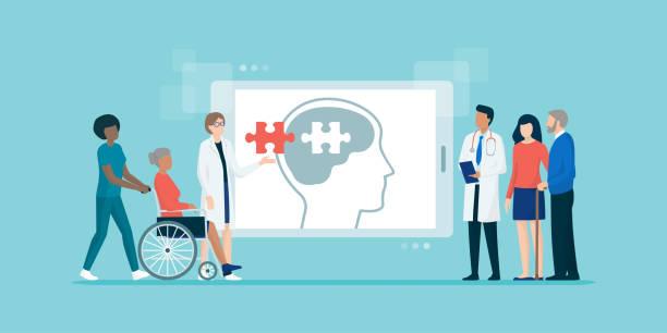 ilustraciones, imágenes clip art, dibujos animados e iconos de stock de equipo médico profesional que ayuda a los patiens con la enfermedad de alzheimer - geriatría