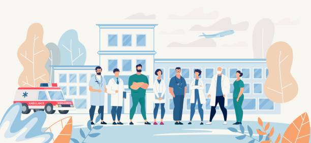Professional Medical Team Staff in Clinic Yard Professional Medical Team Staff in Clinic Yard. Affable Specialist Group on Clinic Backdrop. Surgeons, Nurses, Therapists, Dentists and other Practitioners. Vector Flat Cartoon Illustration hospital background stock illustrations