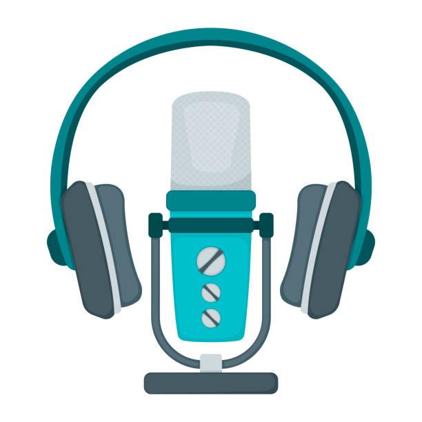 stockillustraties, clipart, cartoons en iconen met professionele microfoon en hoofdtelefoon voor radio, online internet het stromen en het pictogram van het podcastconcept vlakke vectorillustratie, die op wit wordt geïsoleerd. - call center