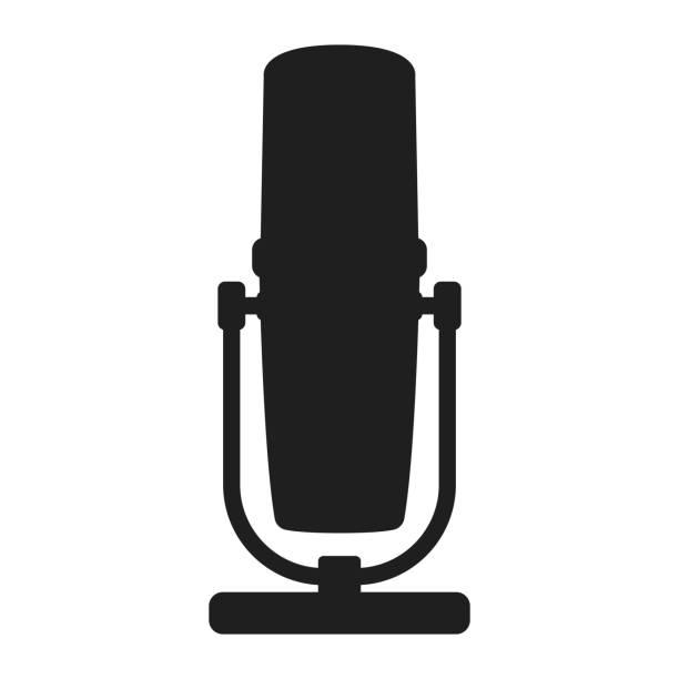 stockillustraties, clipart, cartoons en iconen met professionele microfoon voor radio, online internet het stromen en het pictogram van het podcastconcept zwart silhouet eenvoudige vectorillustratie, die op wit wordt geïsoleerd. - call center